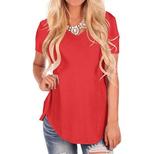 Damen Kurzarmshirt T-Shirt Lose Tunika Sommershirt Bluse Top Longbluse Oberteile