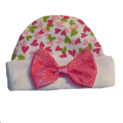 Baby Girls Joyful Hearts Hat with Lace Bow 5 Preemie Newborn Sizes to 0-6 Months