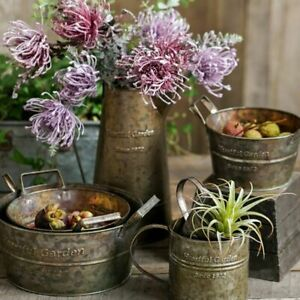 American-Metal-Vase-Vintage-Tray-With-Handles-Retro-Flower-Barrel-Storage-Basket