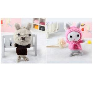 Pink Black Rabbit Crochet Kit Handmade Animal Amigurumi Crafts For