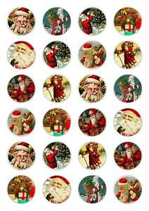 24 Christmas Santa Cupcake Fairy Cake Toppers Edible Rice ...