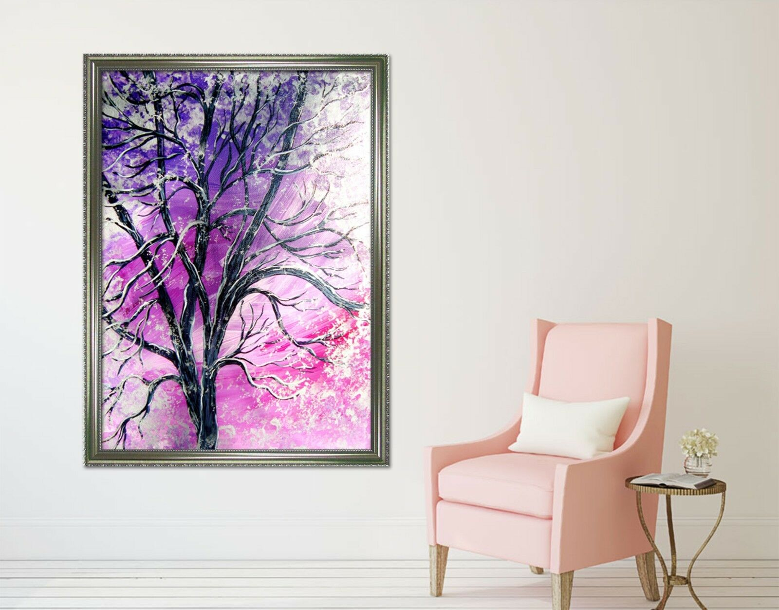 3D  Purple Paint Tree 2 Framed Poster Home Decor Print Painting Art AJ WALLPAPER
