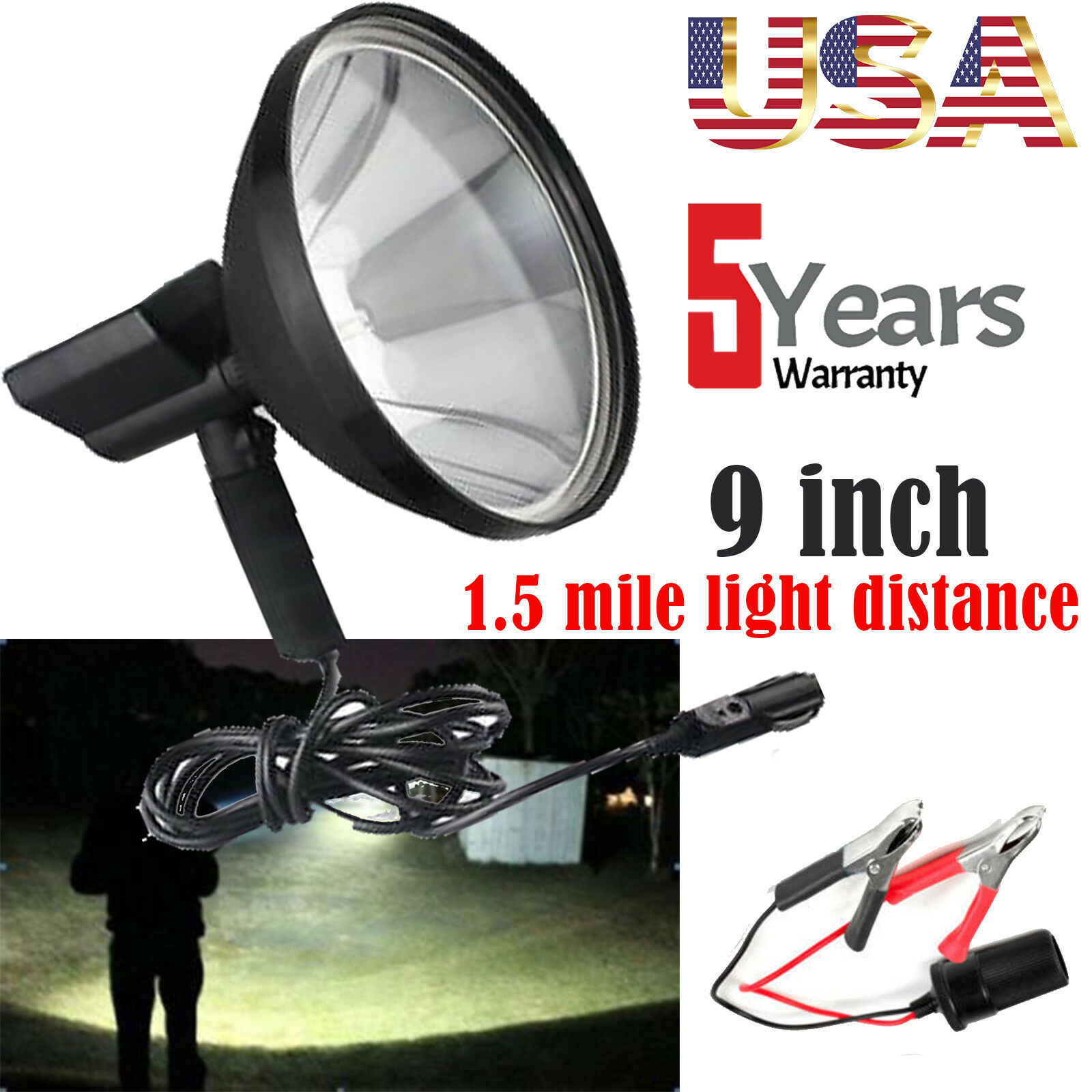 Hunting Light   12V Car Spotlight Handheld 9Inch 680W HID + Blattery Clip 6000K  high quality & fast shipping