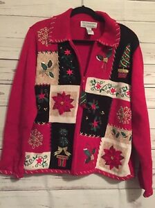Ugly-Zip-Front-Red-Christmas-Sweater-Cardigan-with-Different-Designs-Sz-L