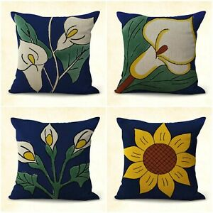 Details About Us Er Set Of 4mexican Flower Cross Talavera Cushion Covers Sofa Pillow Sets