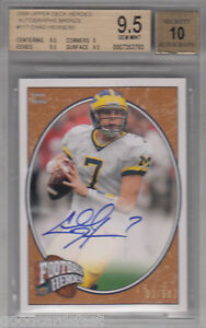 2008 Upper Deck Heroes rc CHAD HENNE rookie UD AUTOGRAPH bronze /50 bgs 9.5 10