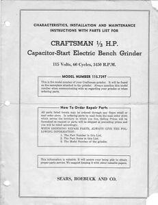 1946 Craftsman 115 7397 1 3 Hp Capacitor Start Electric