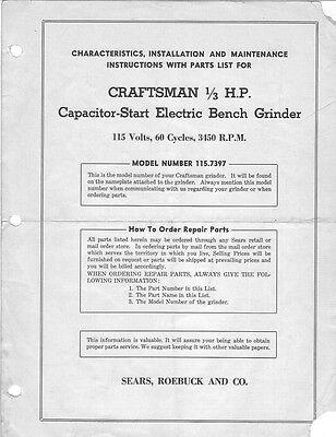 Awe Inspiring 1946 Craftsman 115 7397 1 3 Hp Capacitor Start Electric Bench Grinder Ebay Beatyapartments Chair Design Images Beatyapartmentscom