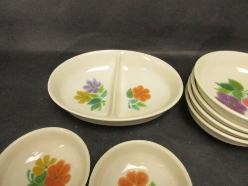 Divided Serving Bowl Franciscan Earthenware Purple Yellow Orange Flowers