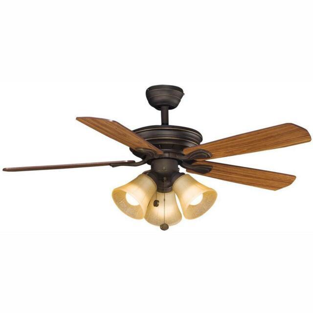LED Indoor Oil Rubbed Bronze Ceiling Fan w//Light Kit Hampton Bay Wellston 44 in