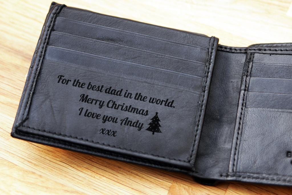 Personalised Engraved Black Leather Wallet RFID Merry Christmas Xmas Mens Gift