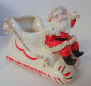 Vtg-Napco-Christmas-Spaghetti-Trim-Santa-Candy-Cane-Sleigh-Figurine-Planter-Gift
