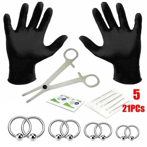 Tool Kit Piercing Jewelry Needles Kit Zunge des Bauches Augenbrauen Brustwarzen