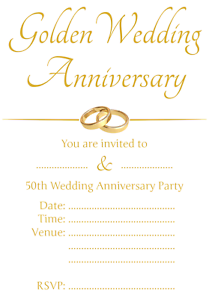 1-100 PACK OF 50TH GOLDEN WEDDING ANNIVERSARY PARTY INVITATIONS Cards Invite