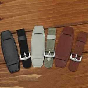Bund-Strap-Cuff-Bangle-Nylon-amp-Leather-Mens-Military-Army-Watch-Band-18-20-22-F7M4
