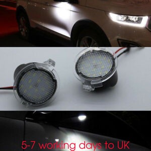 Image Is Loading 2x High White Led Side Mirror Puddle