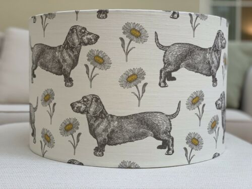 Handmade Lampshade Thornback And Peel Dog And Daisy Fabric Dachshund Grey Yellow