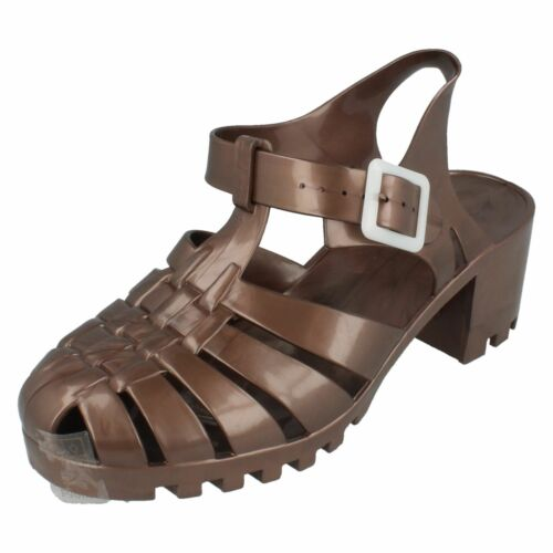 SALE Ladies F9683 90/'s Retro Heeled Jelly Sandal in Different Colours By Spot On