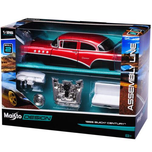 Buick Century 1955 Rot Schwarz 39307 Bausatz Kit 1//26 1//24 Maisto Modell Auto mi