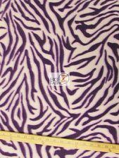 "ZEBRA PRINT POLAR FLEECE FABRIC - White/Purple - 60"" WIDTH SOLD BY THE YARD 5"