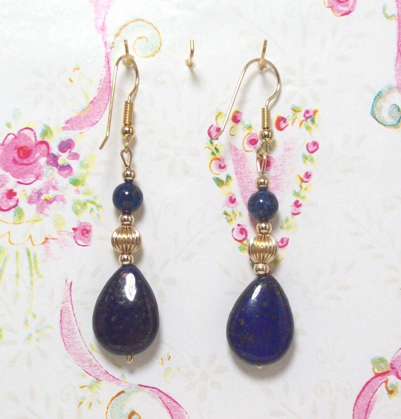 Lapis Lbluei Beaded Earrings With 14K gold Filled 2 1 4  Long. LAPGF003