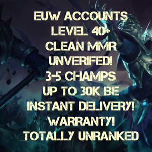 League of Legends LoL Account EUW LVL 35-40 30k-33k BE UNRANKED - Frankfurt, Deutschland - League of Legends LoL Account EUW LVL 35-40 30k-33k BE UNRANKED - Frankfurt, Deutschland