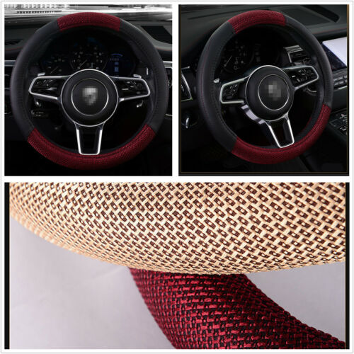 Car Black+Red Leather /& Linen Fabric 38cm//15/'/' Steering Wheel Cover Breathable