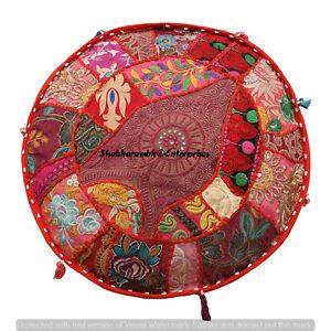 Indian 16/'/' Round Cushion Cover Boho Patchwork Floor Pillows Case Throw Decor