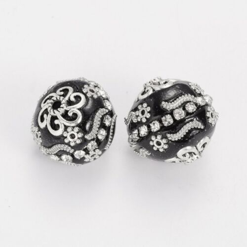2298 Indonesien Perlen 20mm Metall Strass Verzierung  schwarz Perlen