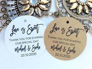 10 Ivory Gift Tags Wedding Favour Bomboneire Personalised Thank you for sharing