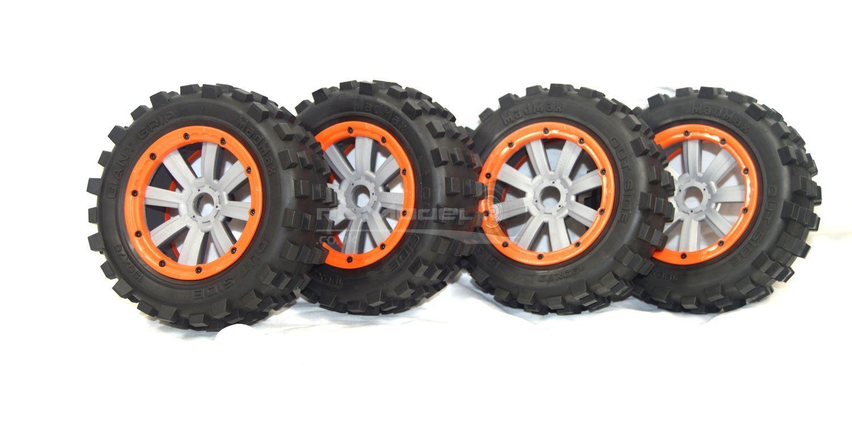 MadMax Set completo di pneumatici Grip giganti,  8 ha parlato Ruote Grigio e Arancio fissaggio delle gomme  risparmia il 35% - 70% di sconto
