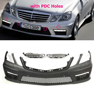 Fits 10-13 Mercedes E Class W212 AMG Style Front Bumper Cover with LED DRL