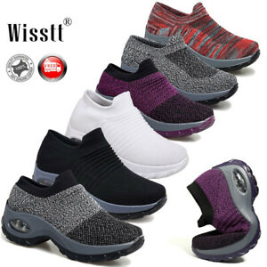 Women-Air-Cushion-Sock-Sneakers-Breathable-Mesh-Walking-Slip-On-Running-Shoes-AU