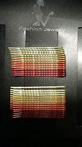 Forcine-colorate-per-capelli-varie-sfumature-di-arancione-colored-hairpins