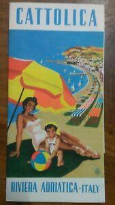 1960-BELLISSIMO-PIEGHEVOLE-PUBBLICITARIO-TURISTICO-DI-CATTOLICA-Riminese