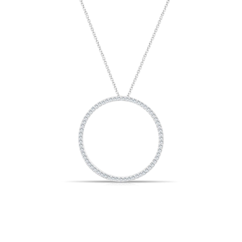 Large Diamond Circle of Life Pendant - 14k White gold - 1.00cttw