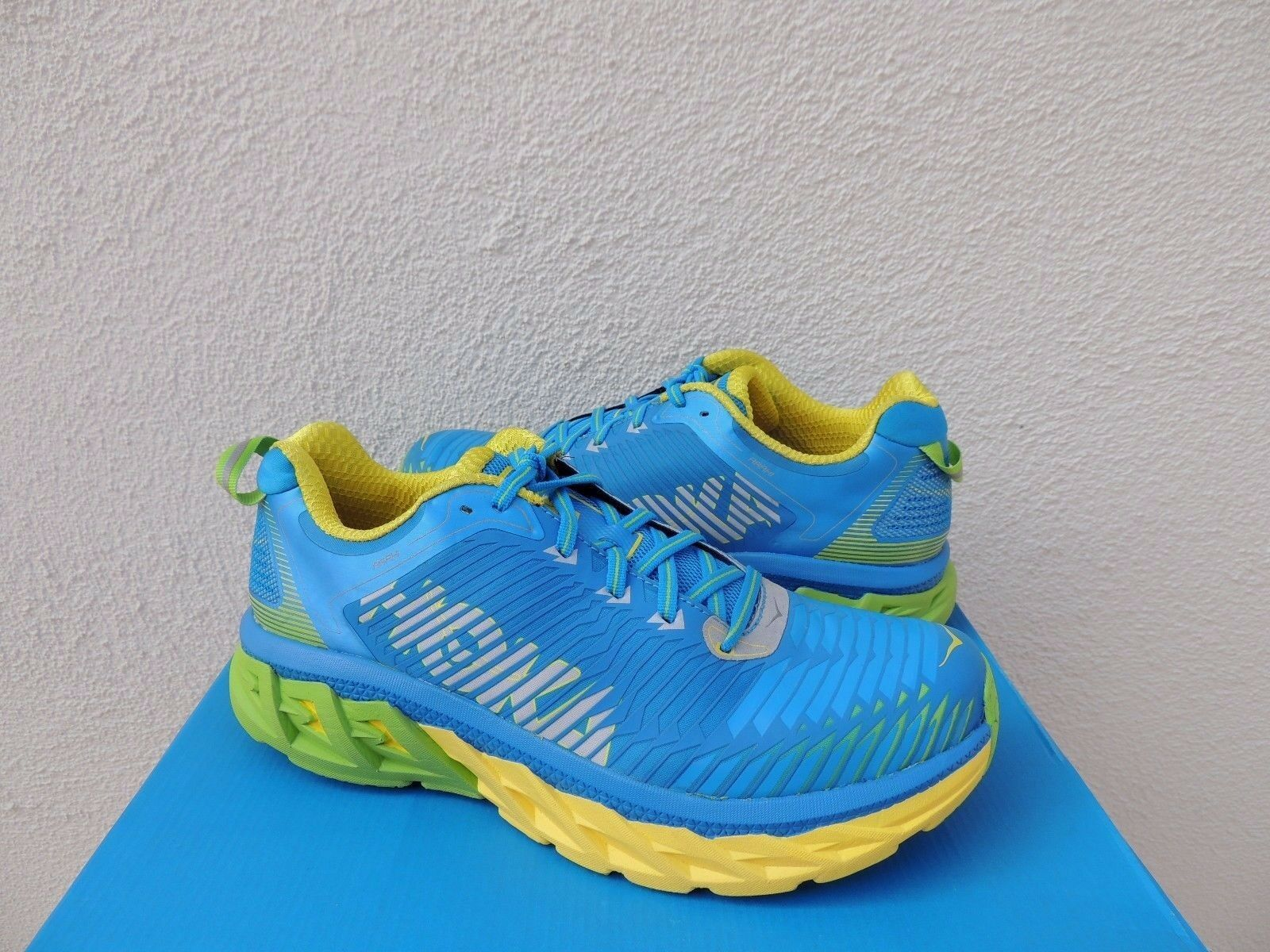 HOKA ONE ONE ARAHI BLU ASTER/ YELLOW RUNNING SCARPE, Uomo US 9/ EUR 42 2/3 ~ NEW