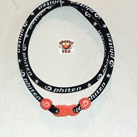 Phiten Classic Necklace Custom: Black With Orange Clasp/grommets