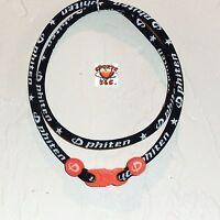 Phiten Classic Necklace Custom: Black With Orange Clasp/grommets