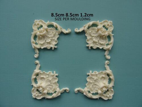 Decorative ornate corners x 4 applique onlay resin furniture moulding VOCL4