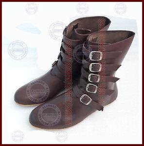 79e2c5625b7112 Das Bild wird geladen Lederstiefel-Ruestung-Ritterhelm-Mittelalter-Stiefel- Schuhe-Ritterstiefel-Braun