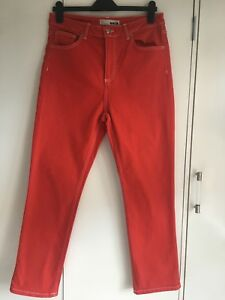 TOPSHOP-MOTO-RED-High-Waist-Jeans-W32-L32-fit-12-14