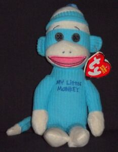 TY MY LITTLE MONKEY BLUE SOCK MONKEY BEANIE BABY - MINT with NEAR ... 35bb5bc47f3d