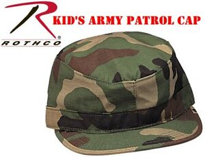 023f68e0cc2 Kid s Military Style Fatigue Cap Woodland Camouflage Army Patrol Cap ...