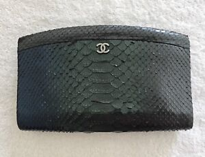 5bb6bf477fc0 Image is loading 100-Authentic-Vintage-Chanel-Metallic-Effect-Python-Clutch