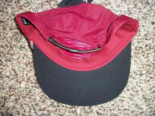 RVCA VA New NWT Mens Snapback Adjustable OSFA HAT CAP LID Maroon Red Black
