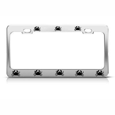 CRAB Metal Chrome Heavy License Plate Frame POLISHED Steel Tag Border