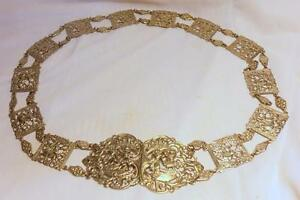 BEAUTIFUL ANTIQUE EGYPTIAN REVIVAL SILVER PLATE BELT~30 INCHES LONG