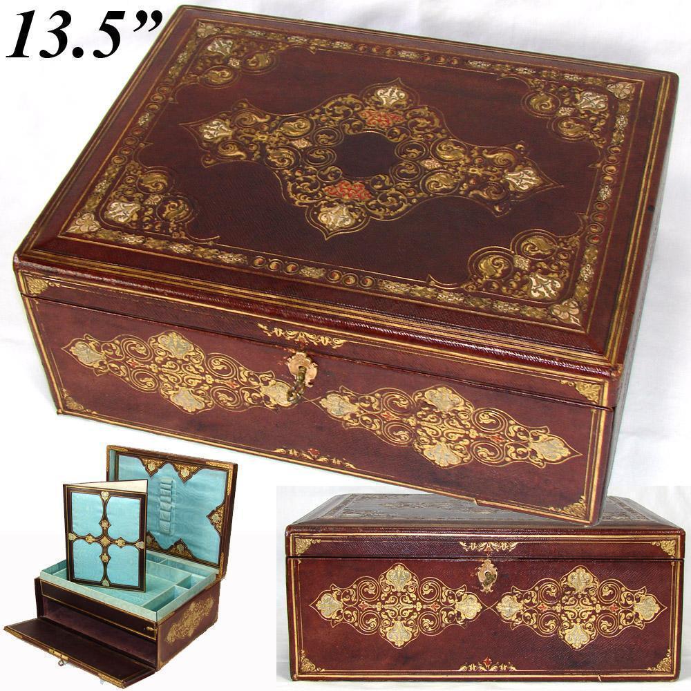 Superbo Antico Vittoriano Dorato Goffrato pelle Writer's Box, Compendio, Opulent