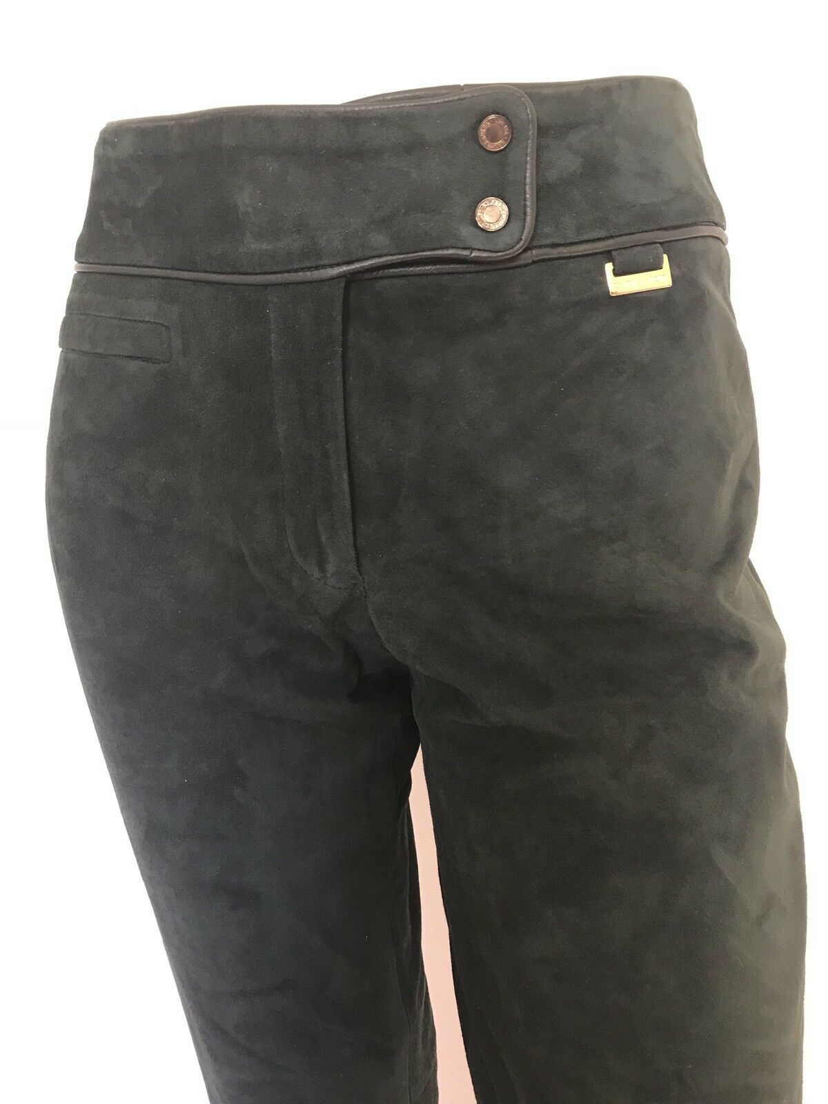 Ralph Lauren Woman's Pants Green Suede gold Hardware Straight US Sz 4